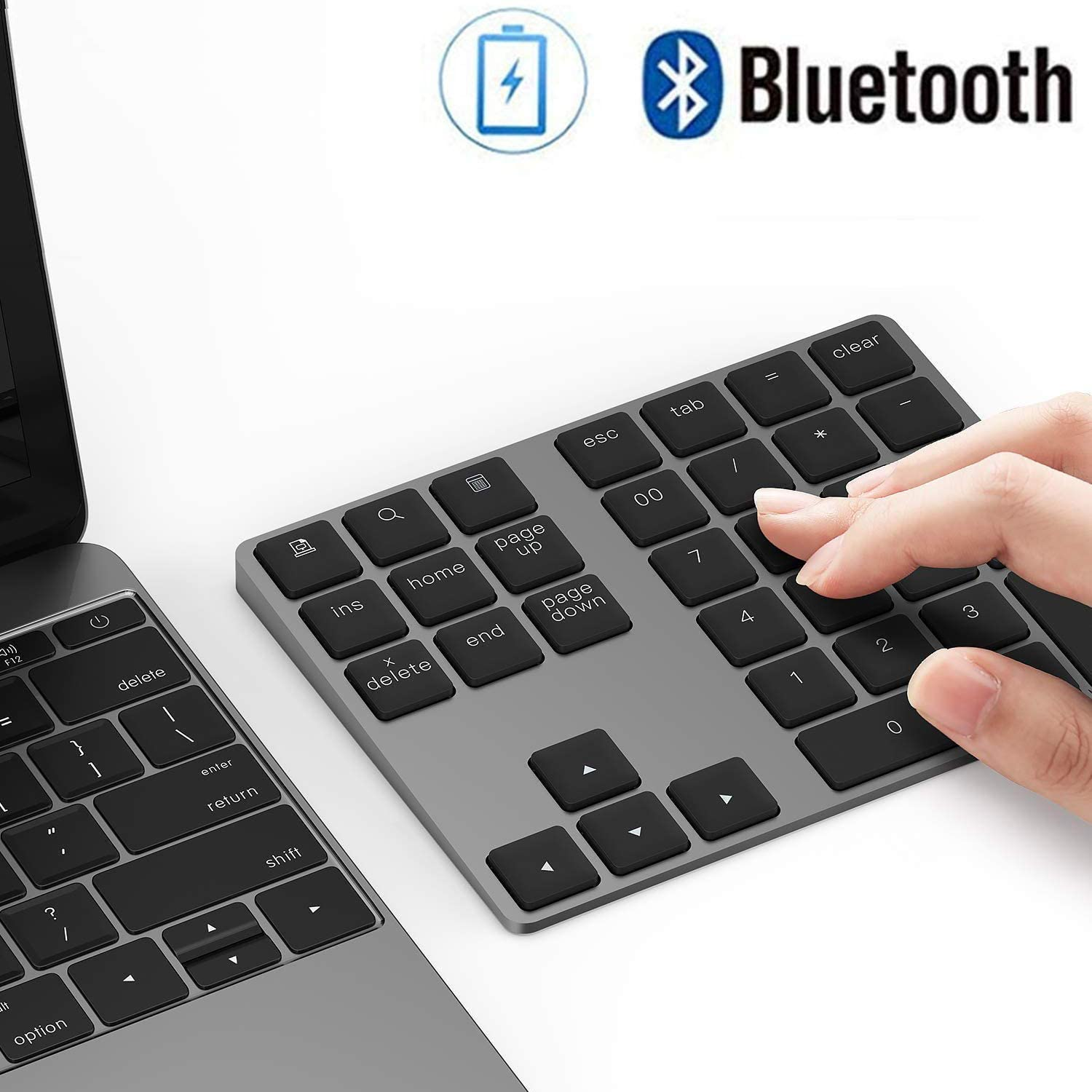 Bluetooth Number Pad, Lekvey Aluminum Rechargeable Wireless Numeric Keypad Slim 34-Keys External Numpad Keyboard Data Entry Compatible for Macbook, MacBook Air/Pro, iMac Windows Laptop Surface Pro etc