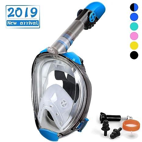 OUSPT Tauchmaske, Faltbare Schnorchelmaske Vollmaske mit 180° Sichtfeld, Tauchen Vollgesichtsmaske mit Abnehmbarer Kamerahalt