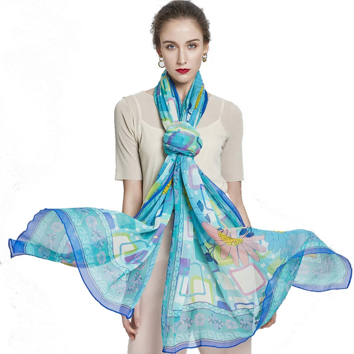 bluee&green DANA XU Pure Silk Large Size Pashmina Shawls and Wraps Scarfs for Women