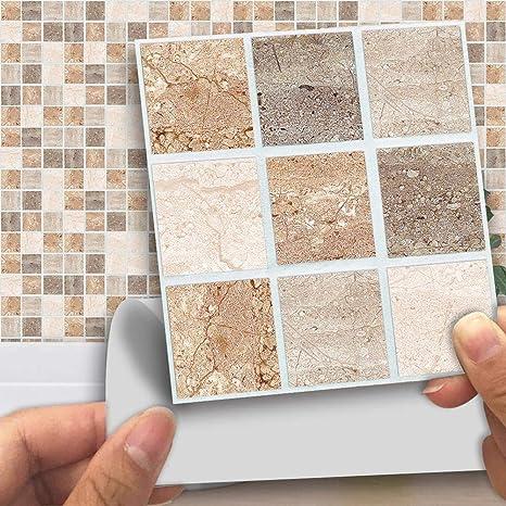 Piastrelle Soggiorno Cucina.Ingeniously 18 Pezzi Adesivi Mosaico Di Piastrelle 10 10 Cm Colorato Mosaico Impermeabile Autoadesivo Della Parete Della Decorazione Della Casa Per