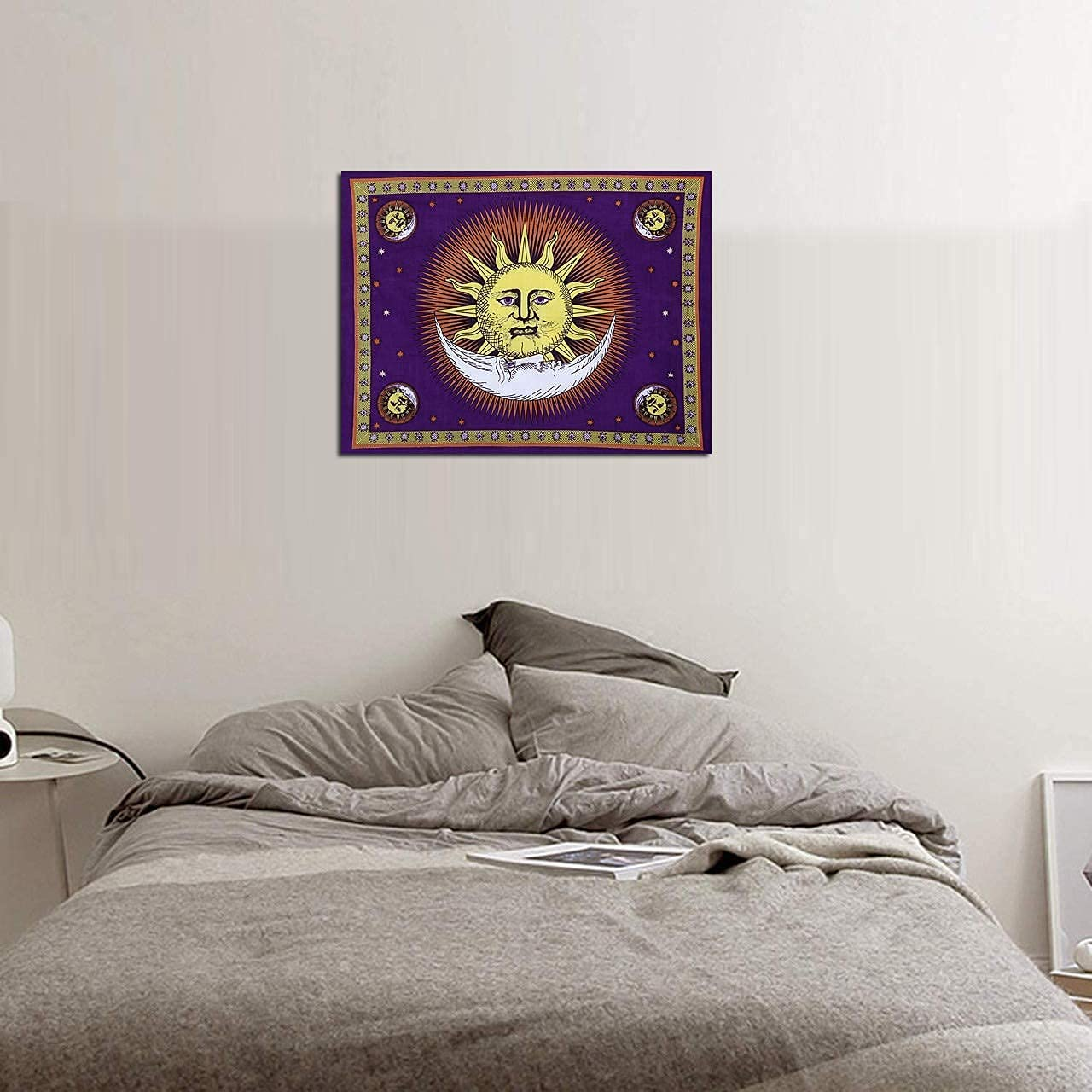 THE ART BOX Tapestry for Bedroom Asethetic, Sun and Moon Wall Décor, Good Morning Tapestry, Boho Tapestries to Add Colour Palette of Your Home (Purple, 30x40 Inches, Cotton)