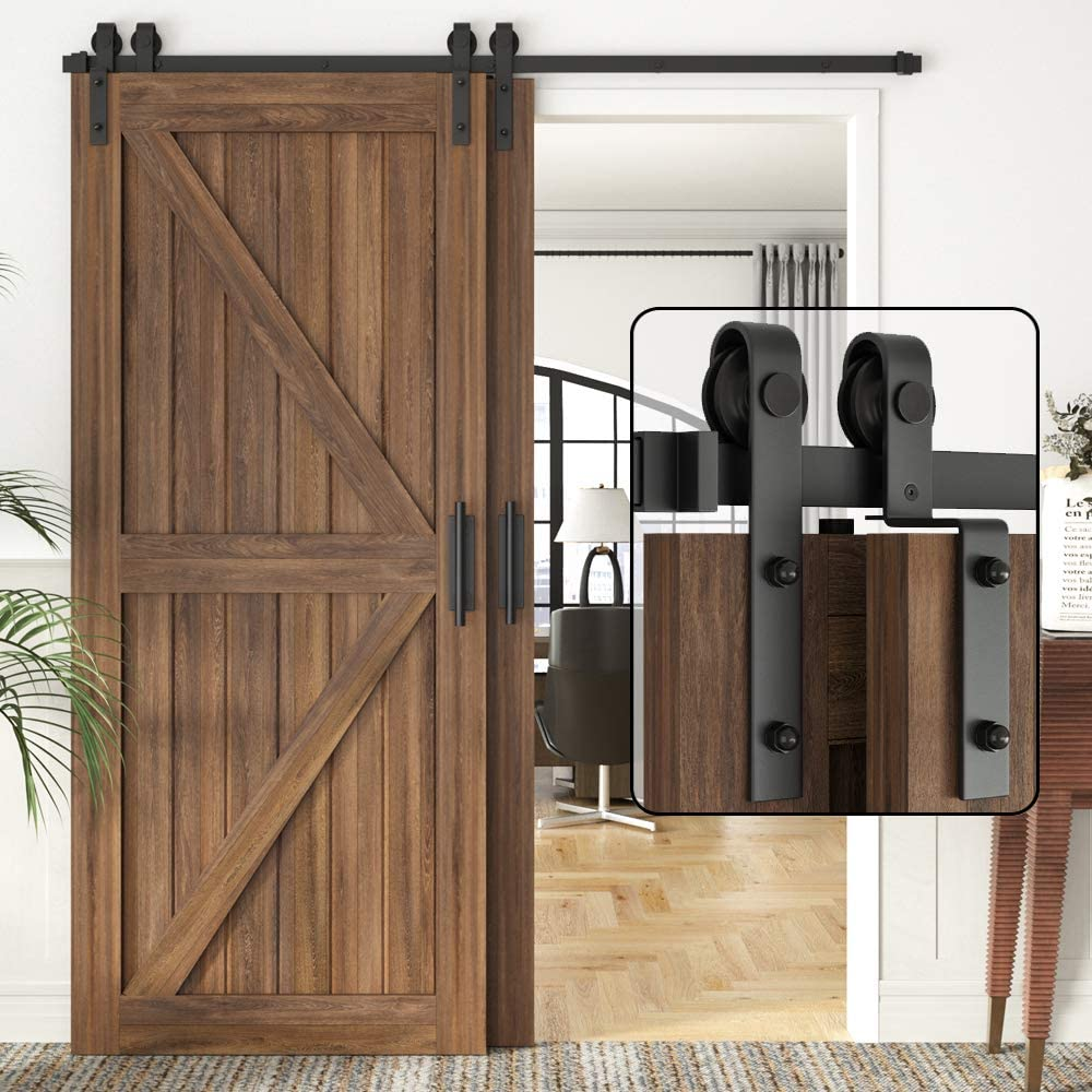 5ft Single Track Bypass Space Saving Double Wooden Doors Use Single Track Low Ceiling Flat Track Roller SMARTSMITH 4 FT- 12 FT Bypass Barn Door Hardware Kit