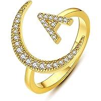 هوبت حرف الأولي خاتم الهلال القمر 14K الذهب مطلي تشيكوسلوفاكيا الأبجدية A-Z خاتم قابل للتعديل للنساء الفتيات