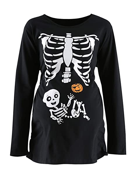 8145f0620 Women's Maternity Funny Xray Halloween Skeleton Costume Pregnancy Cute Long  Sleeve Pregnant T Shirts (M