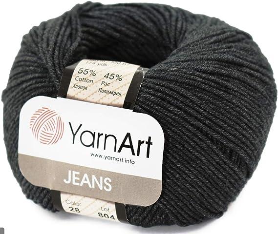 46 4 Skein 55/% Cotton 45/% Acrylic YarnArt Jeans Yarn 200 gr 696 yds