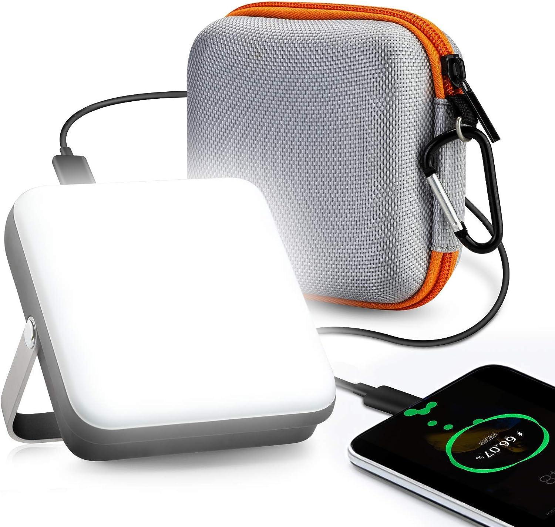 Foco LED Recargable, eventek Power Bank Portatil, Lampara Camping, Linterna Camping con 5 modos de luz, para tienda, camping, huracán, senderismo, ...