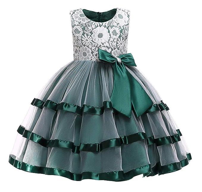 Happy Cherry - Vestido de Fiesta para Niñas Traje de Encaje de Tutú Falda de Princesa para Boda Cumpleños Ceremonia para Bebés Infantiles de 2-12 Años