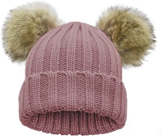 WinCret Cute Toddler Baby Winter Hat with Ear Flap Kids Girls Cable Knit Beanie with Warm Fleece Lined 1-6 Years
