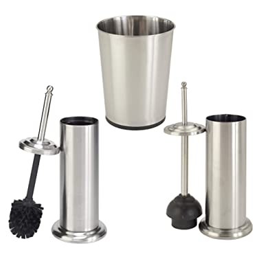 Bath Bliss Bathroom Accessories 3 Piece Trash Can, Plunger & Toilet Brush Combo Bath Set, Stainless Steel Silver