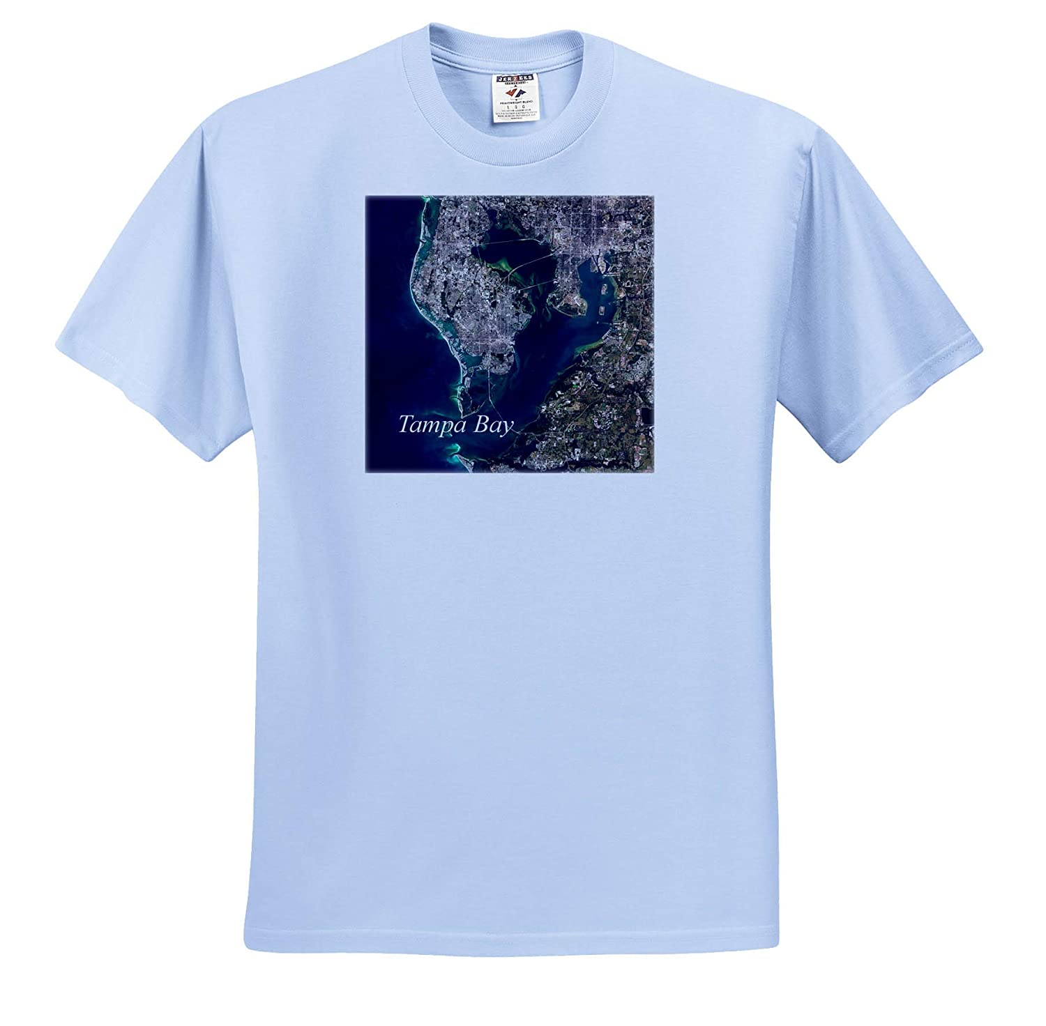 ts/_317556 3dRose Lens Art by Florene Nautical Maps Adult T-Shirt XL Image of Tampa Bay Florida Aerial Map