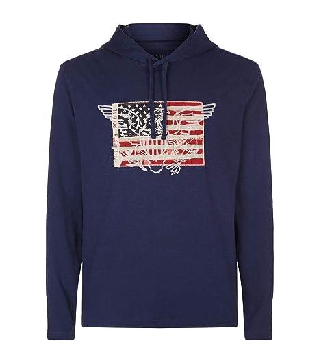 2ee8740e4a0 RALPH LAUREN Polo Men s Slub Cotton Jersey American Eagle Flag Long Sleeve  Pullover Hooded T-