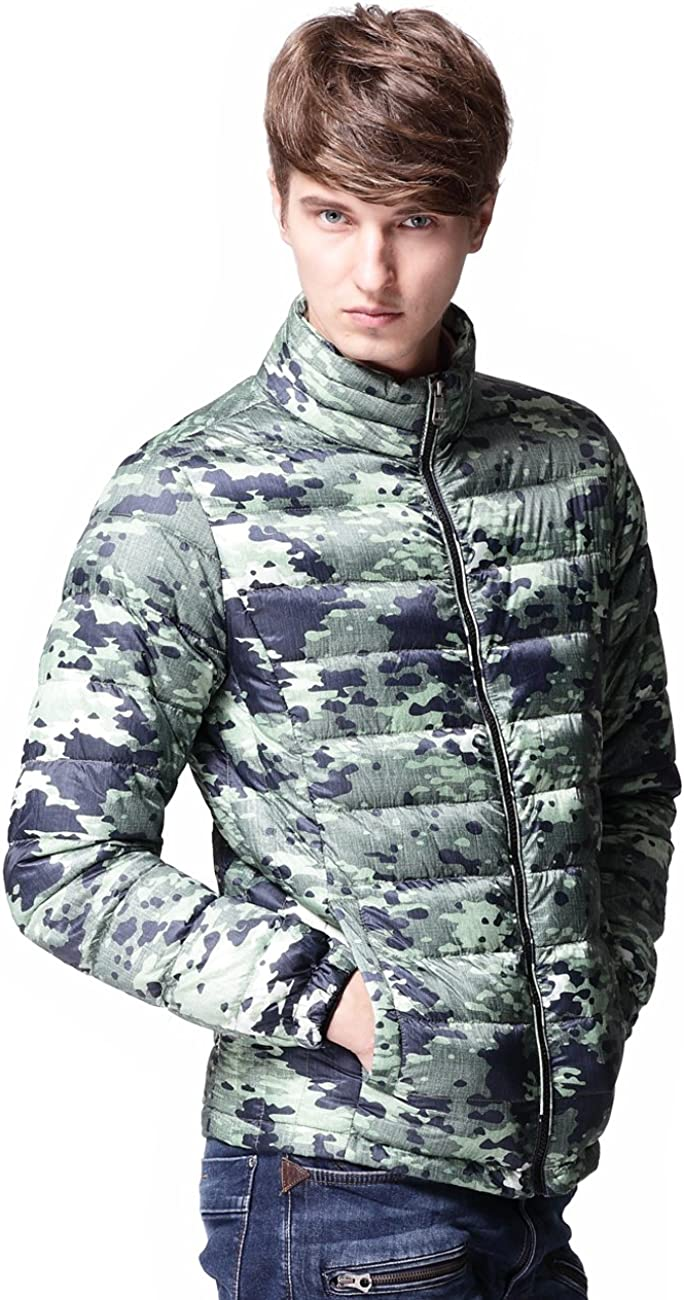 CHERRY CHICK Mens Ultralight Down Short Camo Jacket Water-Resistant Fabric