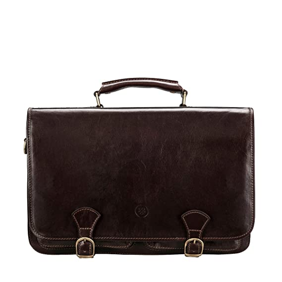 1318fd87816d Maxwell-Scott® Handcrafted Brown Leather Business Satchel Bag For Men (The  Jesolo3)  Maxwell Scott  Amazon.co.uk  Clothing