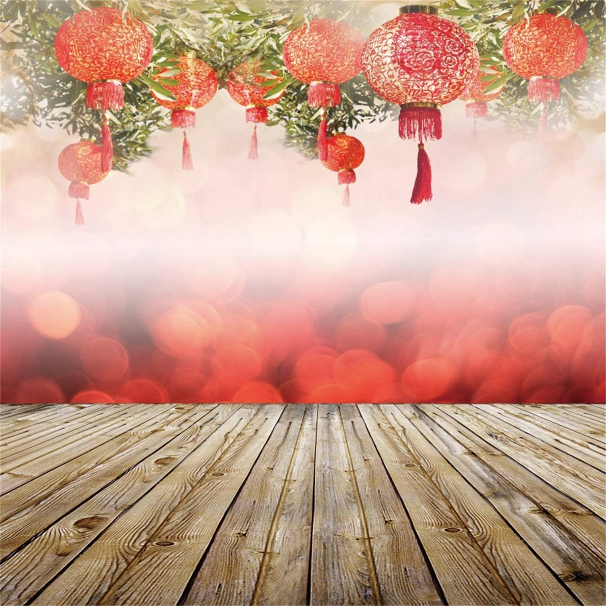 Yeele Chinese Red Lantern Backdrop Vintage Wooden Floor Spring Festival Photography Background Kids Artistic Portrait 10x10ft 2020 New Year Events Photo Booth Photoshoot Studio Wallpaper