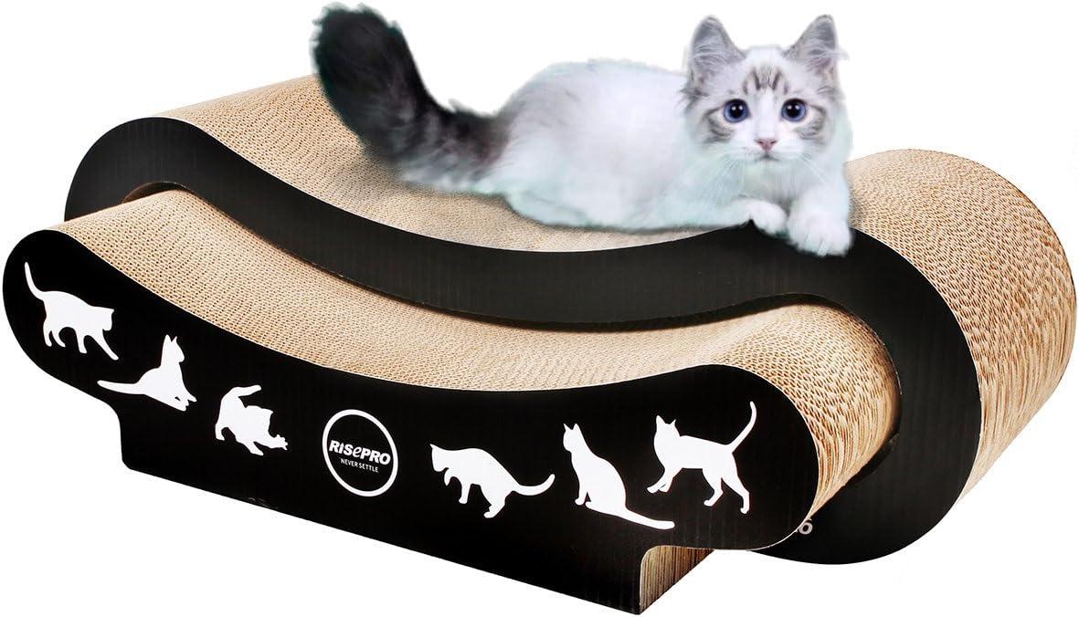 RISEPRO Cat Scratcher, 2-in-1 Cat Scratcher Cardboard, Cat Sofa, Cat Scratching Pad, Cat Furniture, Cat Bed, Cat Scratching Post
