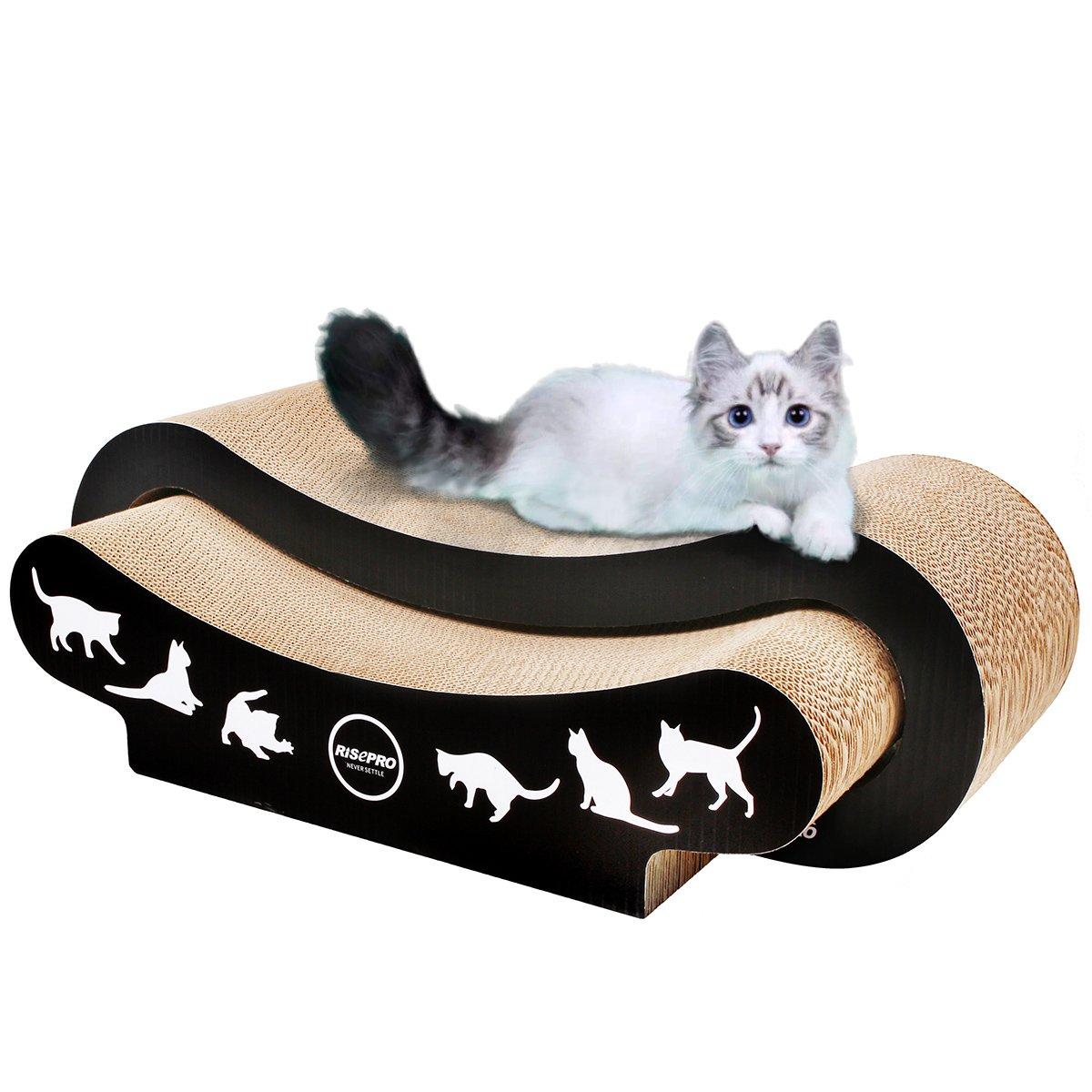 RISEPRO 2-IN-1 Ultimate Cat Scratching Post, Cat Scratcher, Cat Lounge, Cat Sofa, Corrugated Cardboard by RISEPRO (Image #1)