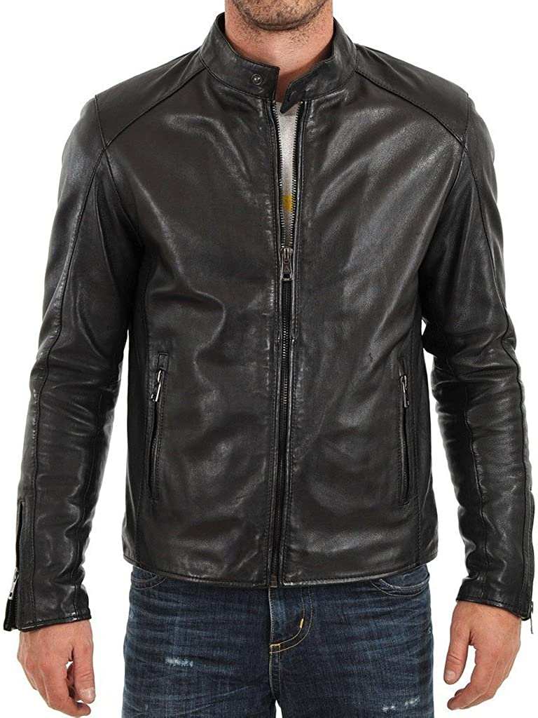 Men Slim Lambskin Leather Coat Motorcycle Biker Overcoat A608