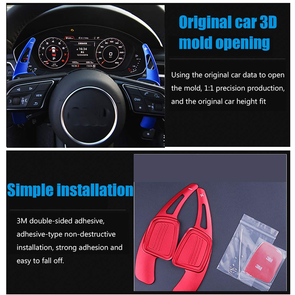 2018 red SQ5、A8 Q7、TTS 2015-2018 TT 2016-2018 for Audi A3、A4L、A5、S3、S5 Great-luck High quality Aluminum Steering Wheel Paddle Shifter Extensions Covers 2 pieces 2017-2018