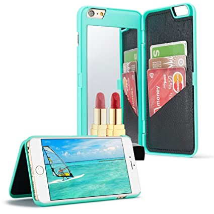 official photos aae10 3be08 Amazon.com: for iPhone 6 6S Mirror Wallet Case, Aearl Matte Hard PC ...