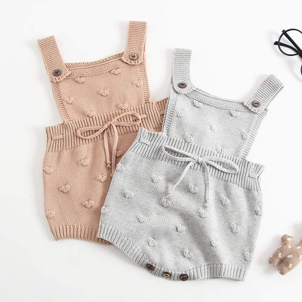 H.eternal Baby Girl Knitted Bodysuit Button Sleeveless Bubble Ball Design Onesies Overall Romper with Elastic Rope,Toddler Warm Jumpsuit Layette Sleepwear Pajamas Outfits