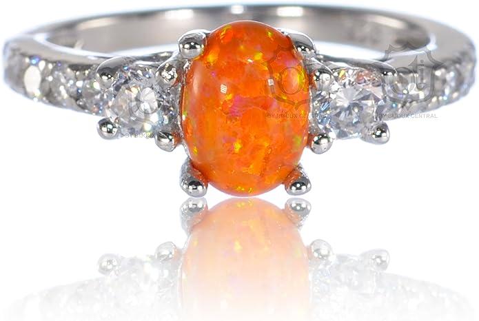 Oval Mexikanisches Feuer Opal Ewigkeit mit Klarem Cz Kristall Silberring