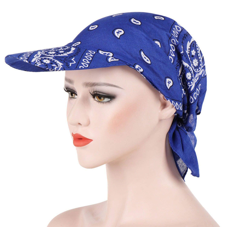 Crystal Fashion Womens Visor Hat Sunhat Printed Head Scarf Keep Warm Cap