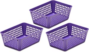 Ybmhome Plastic Storage Supply Basket for Office Drawer, Shelf Desktop, Junk Drawers, Kitchen Pantry Or Countertop - Bins Trays for Office Home and School Classrooms 32-1181-3-purple (Purple, 3)