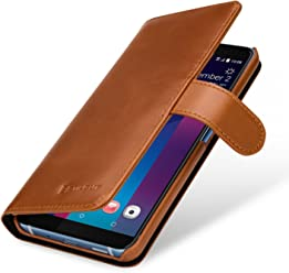 StilGut Talis Case Portafoglio, Custodia in Vera Pelle Cover per HTC U11+ con Chiusura Magnetica, Cognac