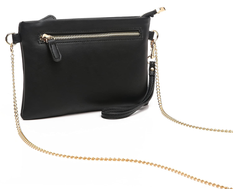 40d392b30 Aitbags Soft PU Leather Wristlet Clutch Crossbody Bag with Chain Strap Cell  Phone Purse Black  Handbags  Amazon.com