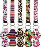 10pcs Vibrant Chapstick Holder Keychains, Neoprene Chapstick Sleeve Pouch Wristlet Lanyards Lip Balm Holders Lipstick…