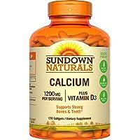 Sundown Calcium Plus Vitamin D3, 1200mg, Soft Gels, 170 Count