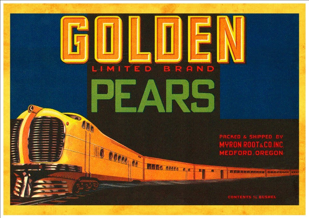 Golden Brand Pears A Beautiful A4 Glossy Art Print Taken From a Vintage Produce Crate Label