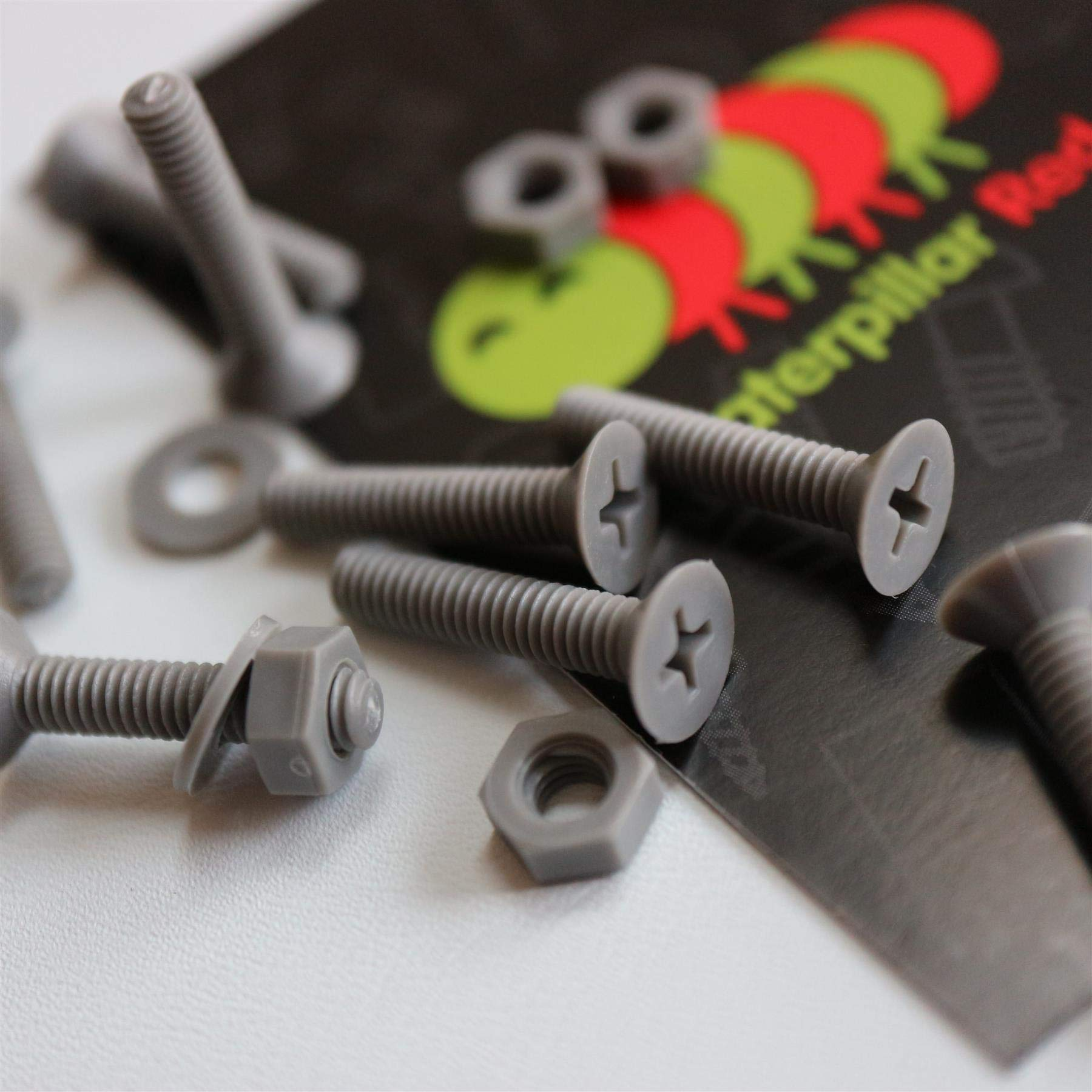 20 x Grey Countersunk Screws Polypropylene (PP) Plastic Nuts and Bolts, Washers, M4 x 20mm, Acrylic, Water Resistant, Anti-Corrosion, Chemical Resistant, Gray
