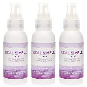 Real Simple Clean Travel Size Wrinkle Release, Static Cling Remover, Pillow & Fabric Freshener, Out the Door No-Iron Quick Fix, USDA Certified Bio-based & Biodegradable (3 oz. ea,Lavender, Pack of 3)