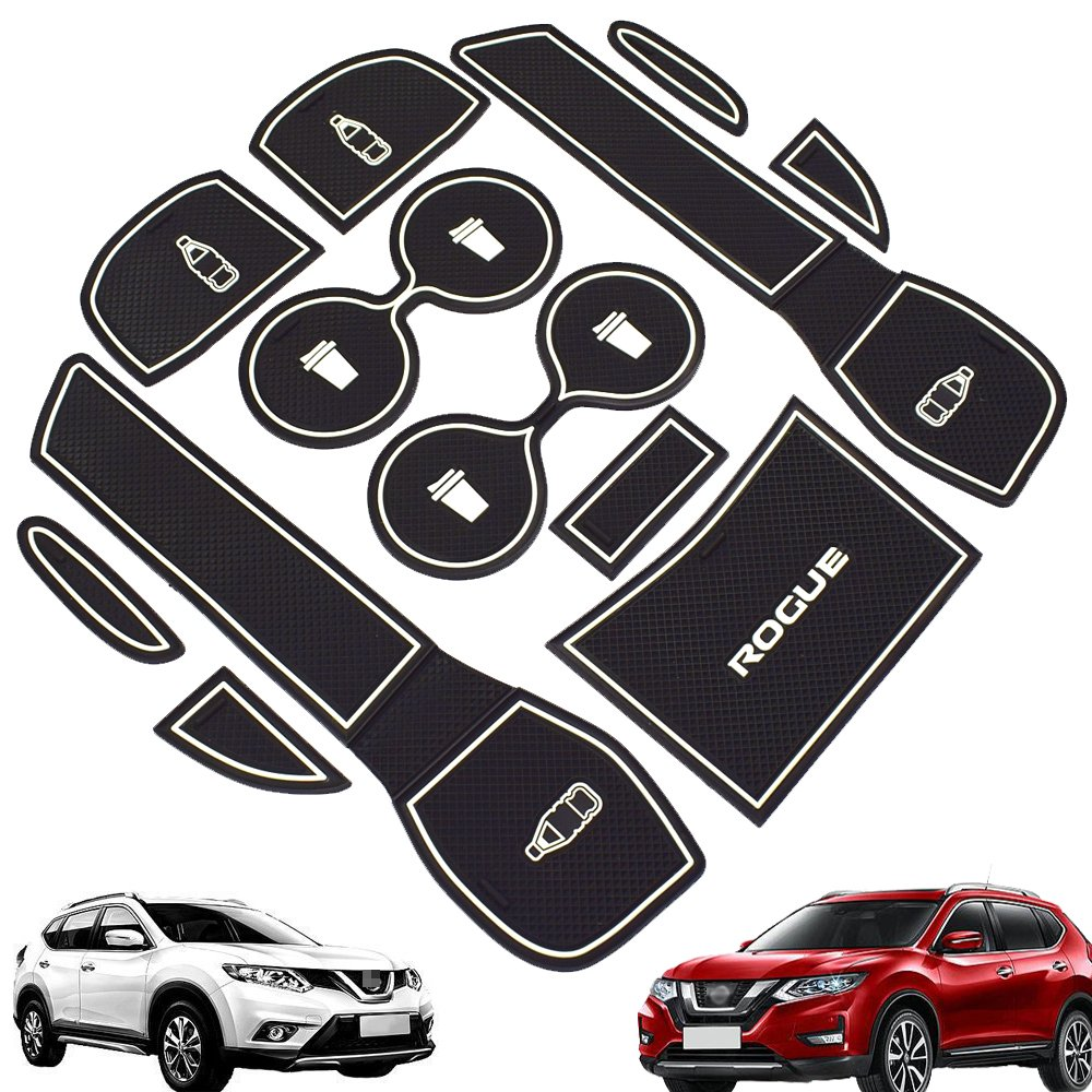 Car Non-slip Interior Door Mat Cup Mat Gate Slot Pad for 2014-2018 Nissan Rogue 12pc//set White