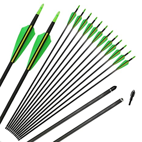 IRQ 31inch Hunter Carbon Arrows Fletched Archery Hunting Target Practice  Arrows for Recurve and Compound Bow Spine 400 Replaceable Tips