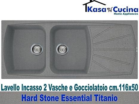Lavello incasso cucina Hard Stone Essential Fragranite 2 Vasche e  Gocciolatoio cm.116X50 Titanio