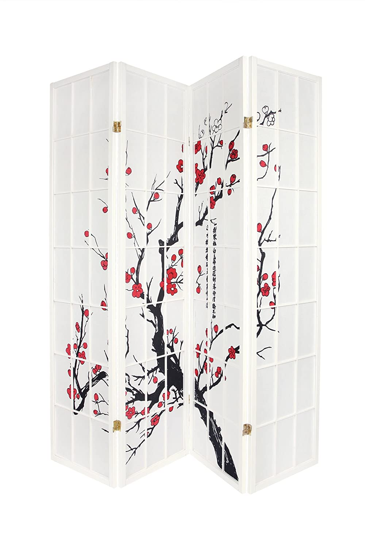 Legacy Decor 4-Panel Plum Blossom Screen Room Divider, Black 4panel-blossom-2