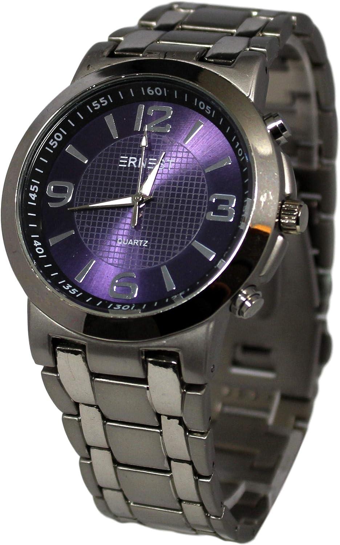 Estuche de regalo con reloj y pulsera de acero para hombre, color azul y plateado: Amazon.es: Relojes