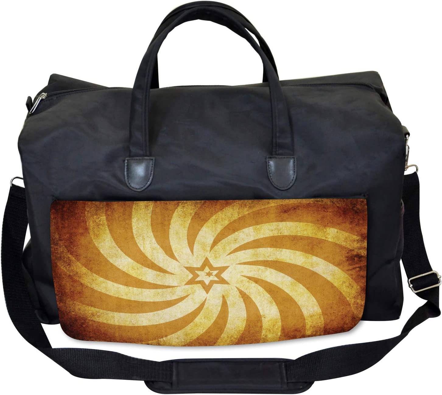 Grunge Star Sunrays Large Weekender Carry-on Ambesonne Vintage Gym Bag