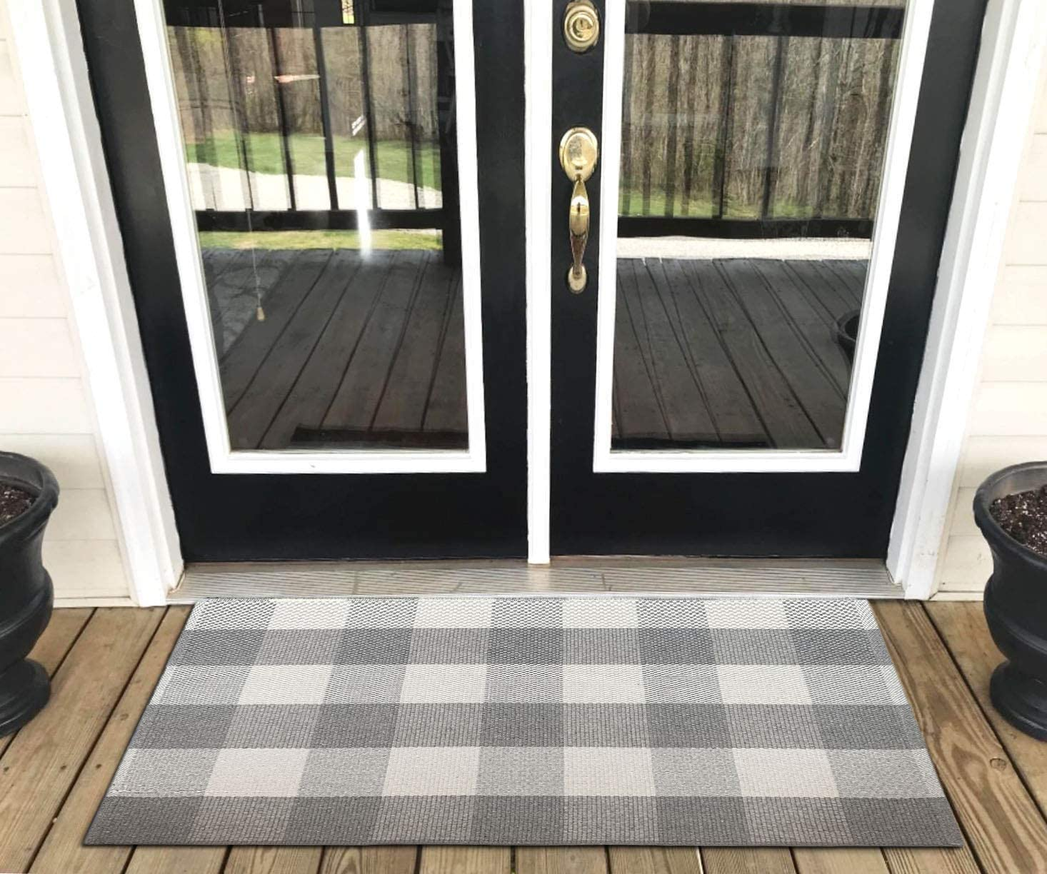 Levinis Door Mat – Cotton Rugs Grey and White Checkered Plaid Rug for Front Porch Kitchen Bathroom Entry Way 27.5 x 43