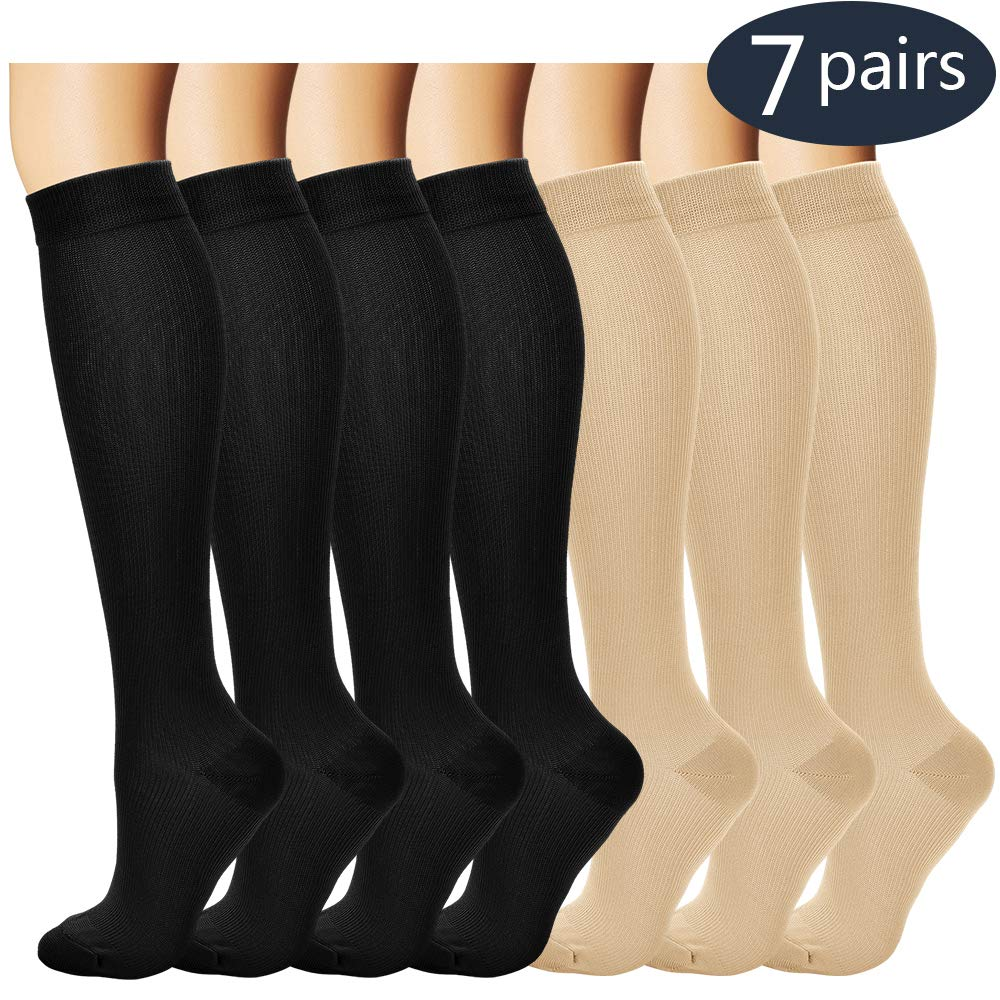 7 Pairs Compression Socks For Women and Men - Best Medical, Nursing, for Running, Athletic, Edema, Diabetic, Varicose Veins, Travel, Pregnancy & Maternity - 15-20mmHg, Small / Medium,  Assorted 3