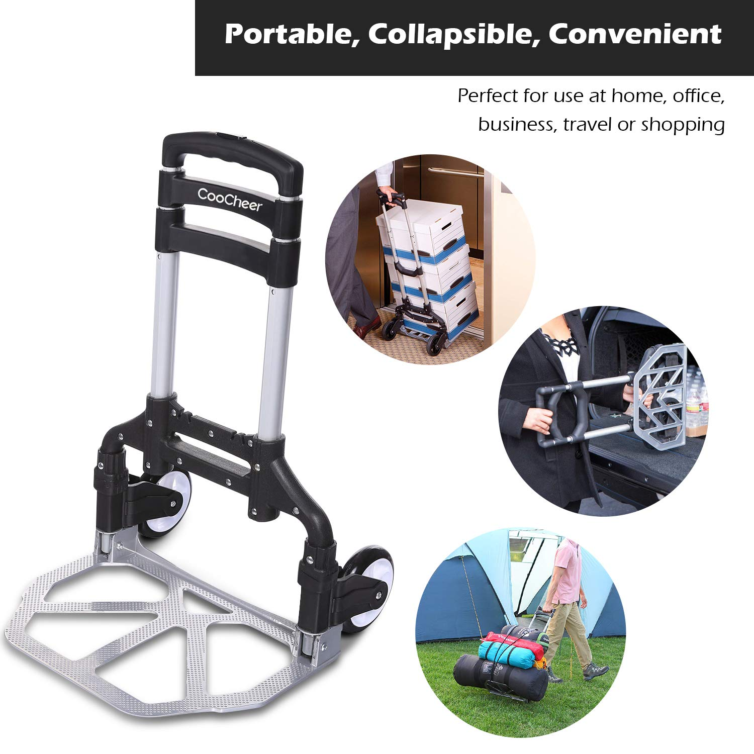 Folding Hand Truck Shopping or Industrial 150lbs Portable Heavy-Duty Luggage Aluminum Trolley Cart with Telescoping Handle and 2 Wheels for Travel