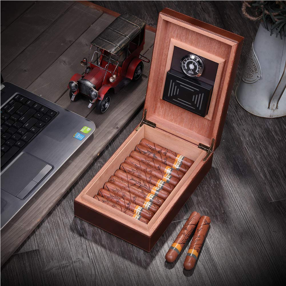 MEGACRA Cedar Cigar Humidor, Leather Cigar Box with Hygrometer and Humidifier Portable Travel Cigar Humidor Holds 10-20 Cigars by MEGACRA (Image #7)