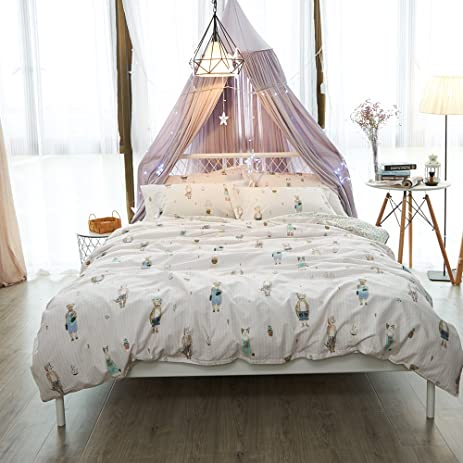 Kids Cotton Bedding Sets Animal Kingdom Print Duvet Cover Sets Reversible  Stripe Home Comforter Cover Sets