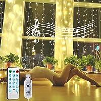 Cortina de luces LED, GLURIZ 3 * 3M 300LED Luz led, Lámpara lluminación de decoración para ventanas, fiestas, bodas y…