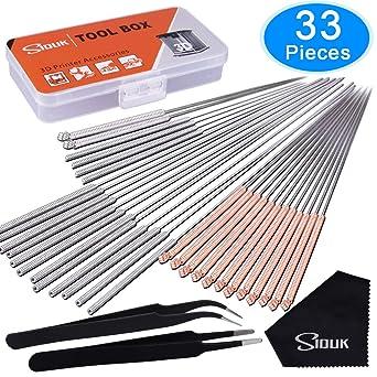 SIQUK 33 Piezas Kit de limpieza de boquillas de impresora 3D incluye 30 piezas 0.15 mm, 0.25 mm, 0.35 mm, 0.4 mm, 0.5 mm Agujas de limpieza de ...