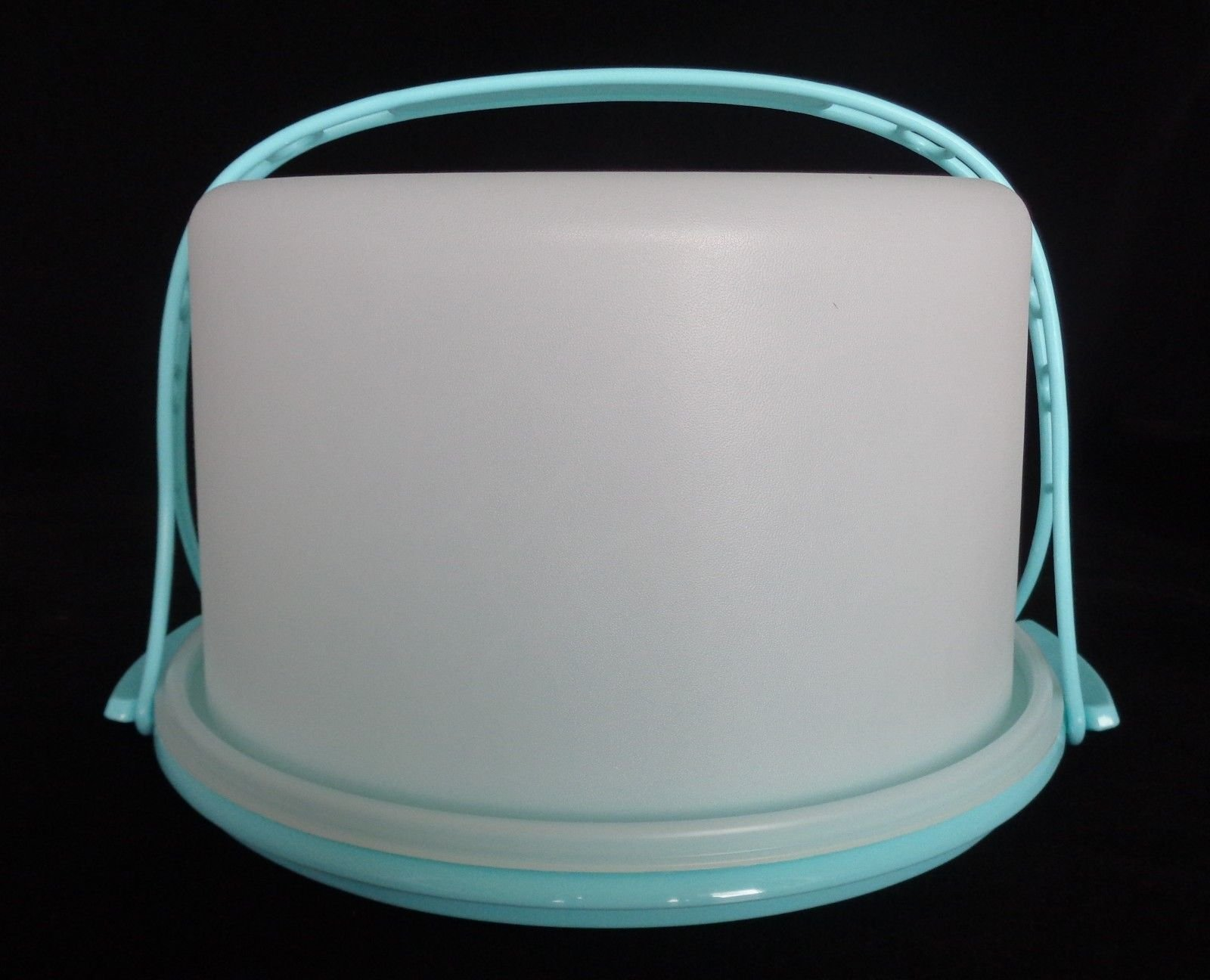 Tupperware Cake Taker 10'' Round Vintage-Style Classic Carrier with Carry Handle in Blue Mint
