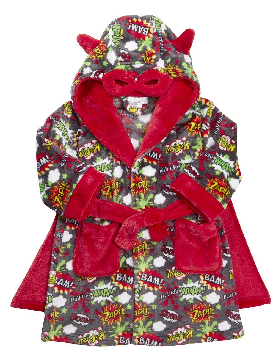 MiniKidz Kids Superhero Dressing Gown with Hood & Cape
