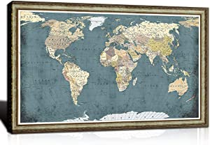 Welmeco XLarge Blue World Map Wall Art with Premium Brown Frame Vintage Push Pins Travel Map of World Canvas Prints Picture Modern Home Office Living Room Decoration Ready to Hang 32x48inch
